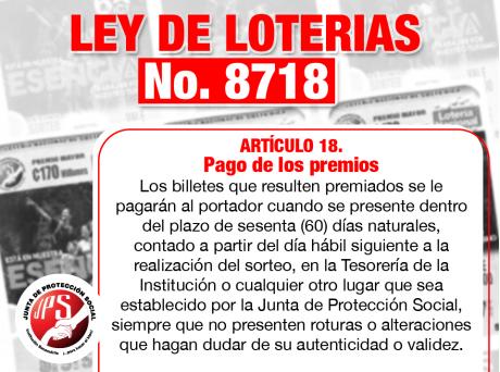 Información para pago premios Artículo No. 18 Ley Loterias