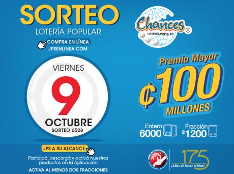 Información Sorteo Lotería popular viernes 09 octubre del  2020